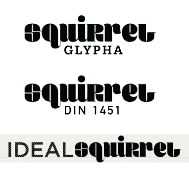 Squirrel with Glypha, DIN 1451 and Ideal